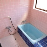 ピンクのタイルの【浴室】