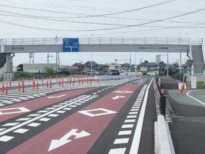 【完成しました県道六軒鎌田線バイパス道路終点部分】