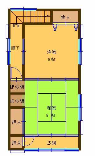 【文豪の街射和町借家4DK2階間取り】
