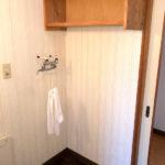 【洗面脱衣室内にある洗濯機置場】